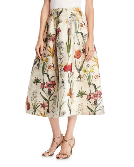 Tea-Length Floral-Jacquard Full Party Skirt, Neutral