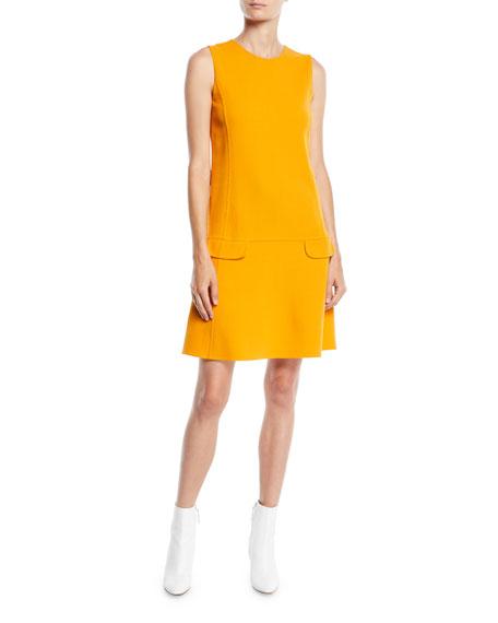Jewel-Neck Sleeveless Belted Shift Wool-Blend Short Daytime Dress