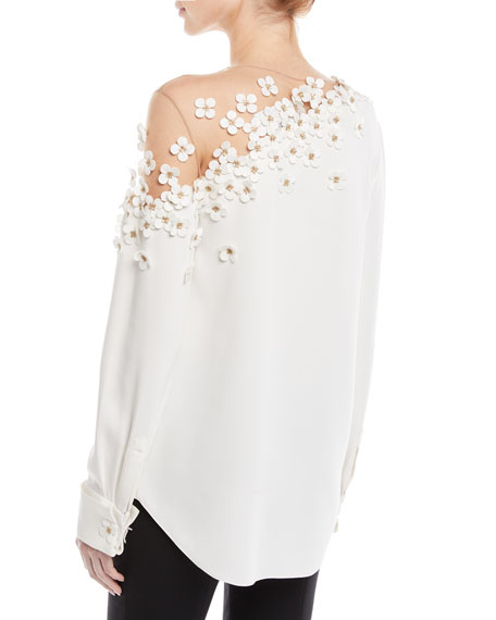 Illusion-Neck Long-Sleeve Floral-Applique Silk Blouse