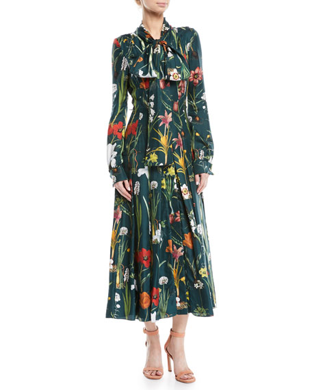 Oscar de la Renta Tie-Neck Button-Front Long-Sleeve Garden-Print