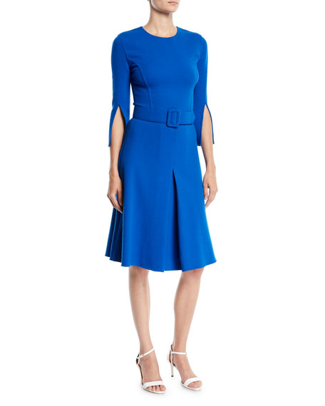 3/4 Split Sleeve Jewel-Neck Belted A-Line Wool Knee-Length Day Dress