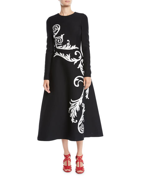 Jewel-Neck Long-Sleeve Scroll-Embroidered Stretch-Wool Tea-Length Dress