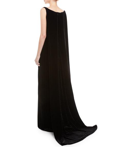 Deep V-Neck Sleeveless Cape-Back Column Velvet Evening Gown