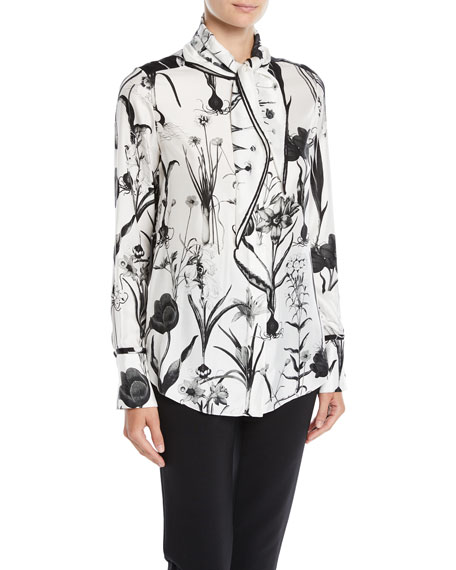Oscar de la Renta Tie-Neck Button-Front Long-Sleeve Floral-Print