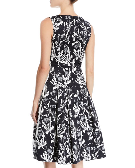 Sleeveless Bateau-Neck Two-Tone Floral-Embroidered Fit-and-Flare Dress with Pockets