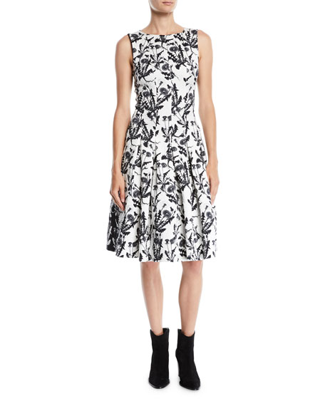 Oscar De La Renta SLEEVELESS BATEAU-NECK TWO-TONE FLORAL-EMBROIDERED FIT-AND-FLARE DRESS WITH POCKETS
