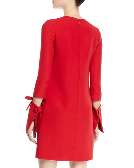 Jewel-Neck Vented Bow-Cuffs A-Line Crepe Wool-Silk Mini Day Dress