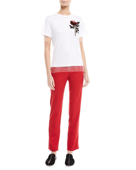 Mid-Rise Slim Straight-Leg Stretch-Wool Pants