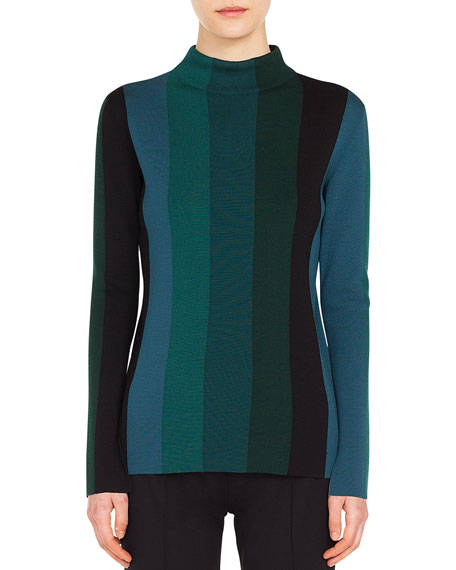 Turtleneck Slit Long-Sleeve Striped Wool Knit Top