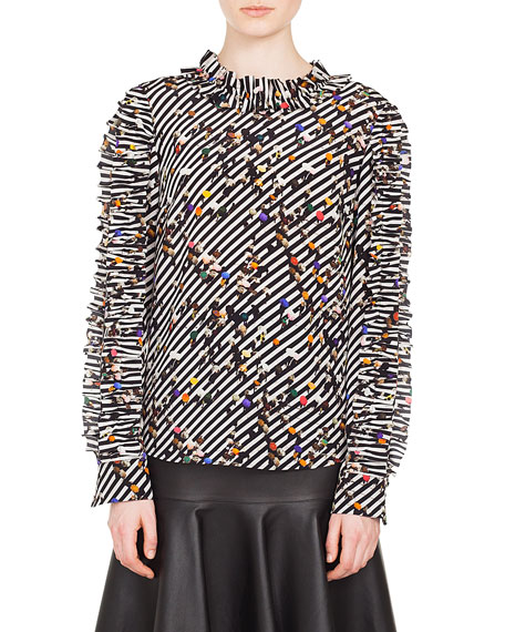 Ruched Long-Sleeve Round-Neck Crossroad-Print Silk Blouse