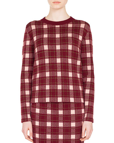 Crewneck Long-Sleeve Check Cashmere-Blend Sweater