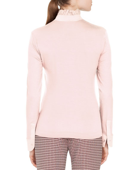 Ruched Stand-Collar Button-Front Long-Sleeve Cotton Jersey Blouse