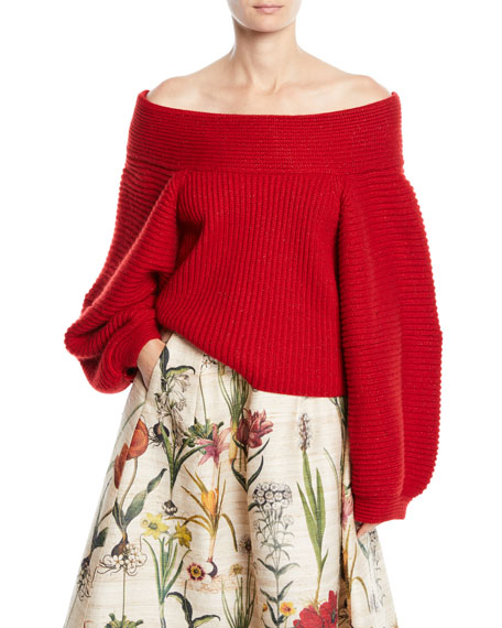 Oscar de la Renta Off-the-Shoulder Balloon-Sleeve Wool Knit