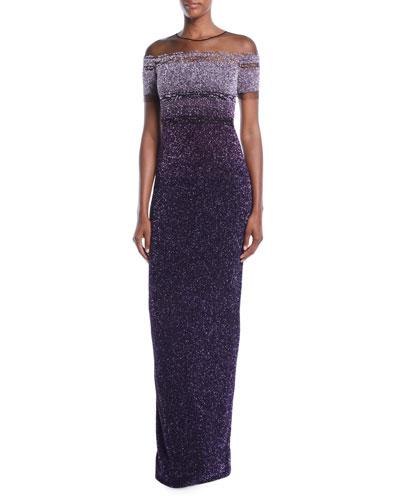 Jewel-Neck Cap-Sleeve Ombre Sequin Evening Gown
