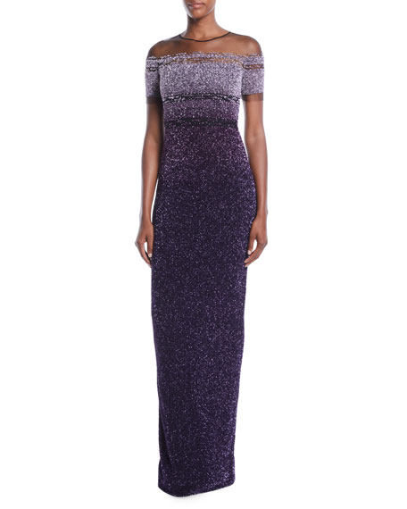 Jewel-Neck Cap-Sleeve Ombré Sequin Evening Gown