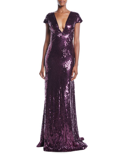 Deep-V Cap-Sleeve Beaded Embellished Column Evening Gown