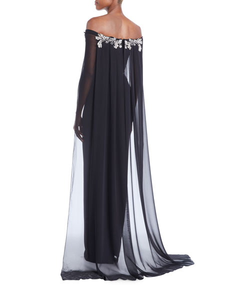 Off-the-Shoulder Stretch-Crepe Column Evening Gown w/ Chiffon Cape