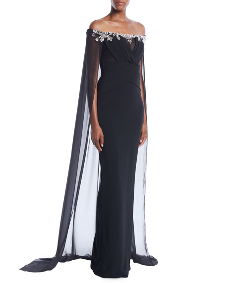 PAMELLA ROLAND Off-The-Shoulder Stretch-Crepe Column Evening Gown W/ Chiffon Cape in Black