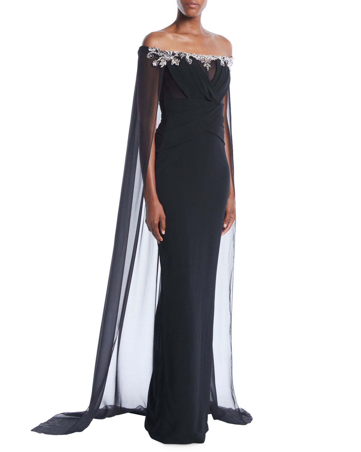 Pamella Roland Off-the-Shoulder Stretch-Crepe Column Evening Gown w ...