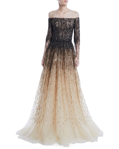 Off-the-Shoulder Ombre Sequin & Crystal-Beaded Tulle Ball Gown