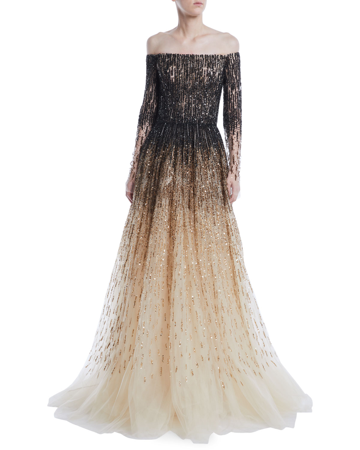 Pamella RolandOff-the-Shoulder Ombre Sequin   Crystal-Beaded Tulle Ball Gown.  Free Shipping ... 2181c2ec2567