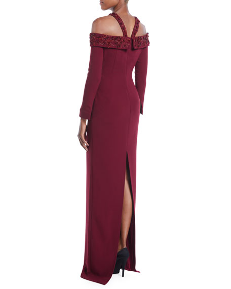 Embroidered-Neck Long-Sleeve Stretch-Crepe Evening Gown