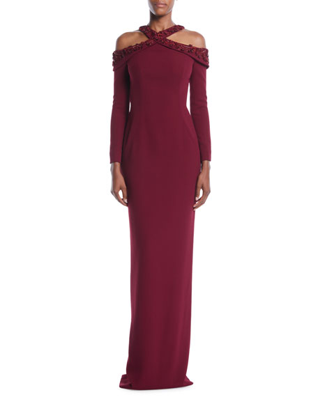 PAMELLA ROLAND EMBROIDERED-NECK LONG-SLEEVE STRETCH-CREPE EVENING GOWN