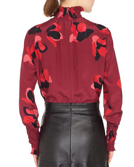 Smocked Turtleneck Long-Sleeve Anemone Floral-Print Silk Blouse