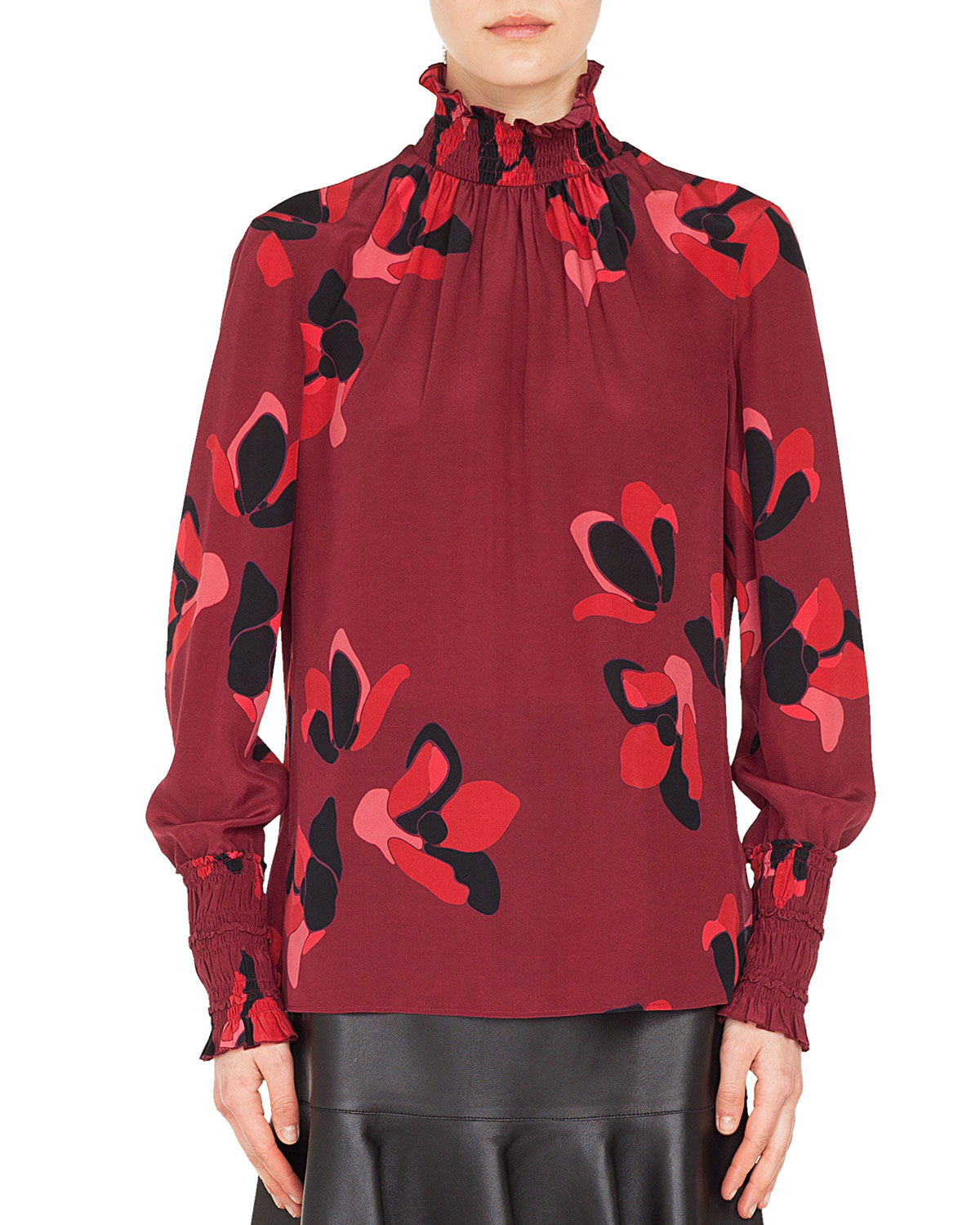 470aaef8c24a64 Akris puntoSmocked Turtleneck Long-Sleeve Anemone Floral-Print Silk Blouse