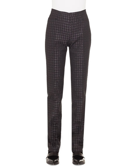 Francoise Metallic Houndstooth Straight-Leg Pants