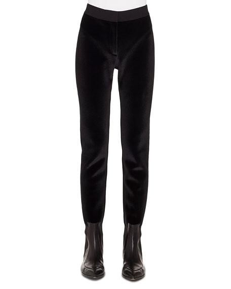 Velvet-Front Jersey-Back Tapered Leg Pants