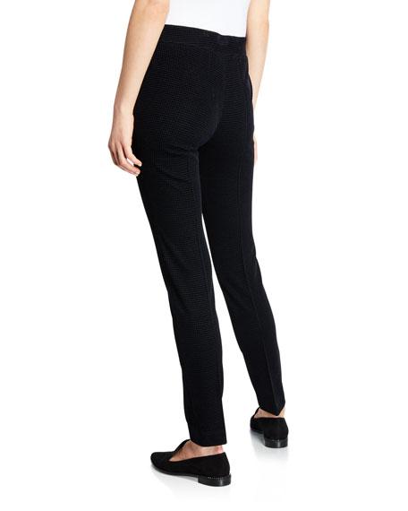 Mara Velvet Front Stretch-Knit Back Tapered-Leg Pants