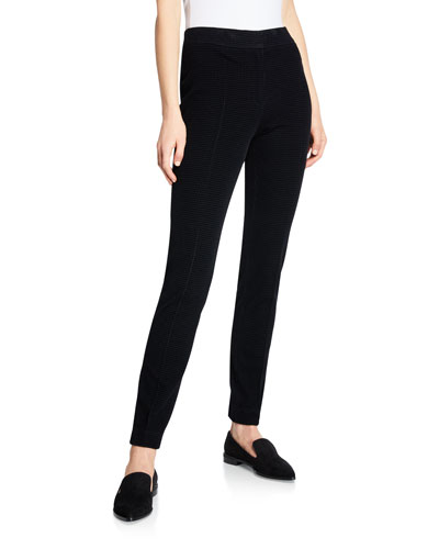 Mara Velvet Front Stretch-Knit Back Tapered-Leg Pants