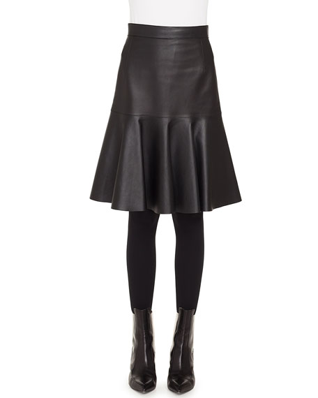 Ruffled Hem Back-Zip Knee-Length Leather Skirt
