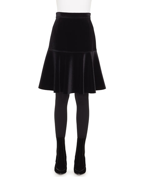 Bell-Shaped Scuba Velvet Knee-Length Skirt