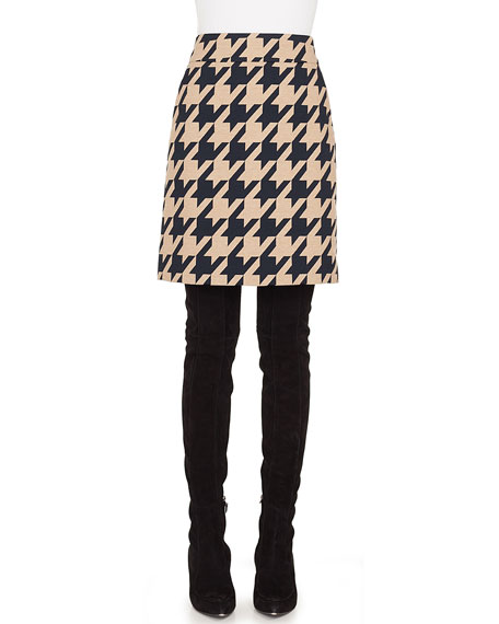 A-Line Houndstooth Jacquard Wool-Blend Skirt w/ Pockets
