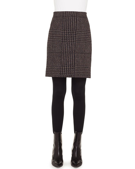 Houndstooth Metallic Jacquard Pencil Mini Skirt