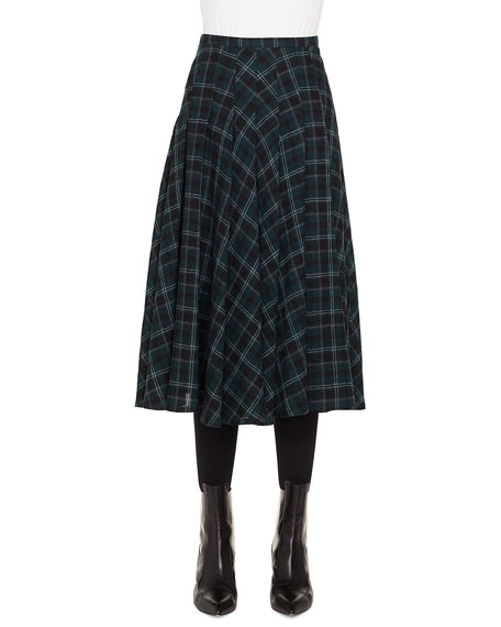 A-Line Brit-Check Midi Skirt