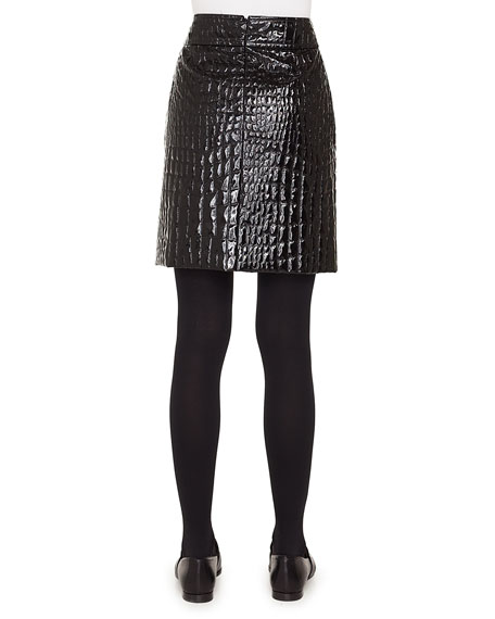 Crocodile-Embossed Patent Leather Pencil Skirt
