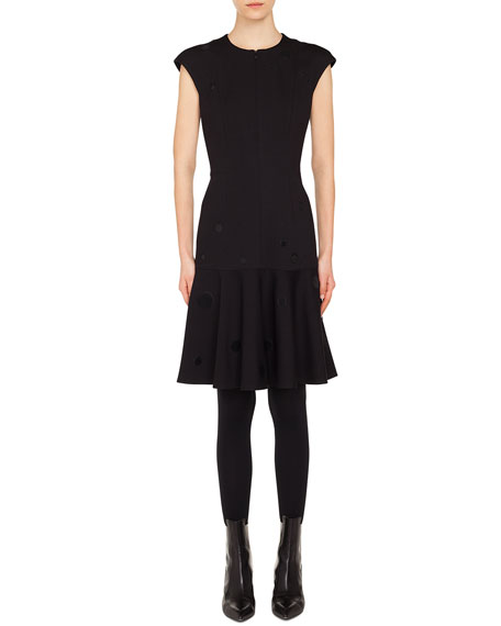 Akris punto Zip-Front Cap-Sleeve Tonal-Dot Embroidered A-Line