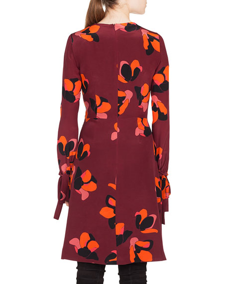 Round-Neck Long-Sleeve A-Line Ruched-Cuff Anemone-Print Silk Dress