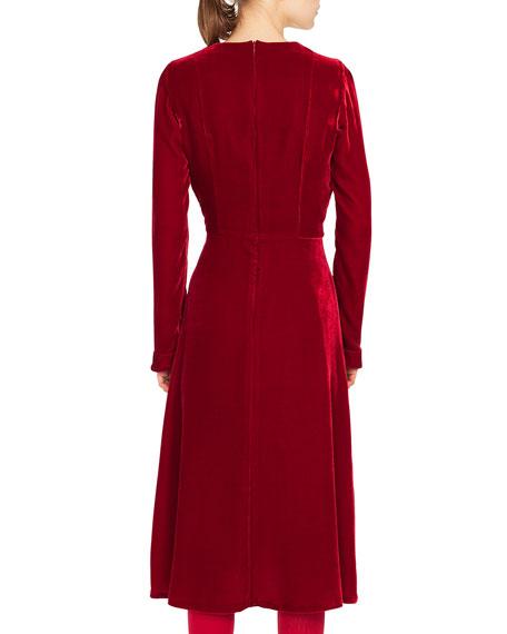 V-Neck Long-Sleeve A-Line Velvet Midi Dress