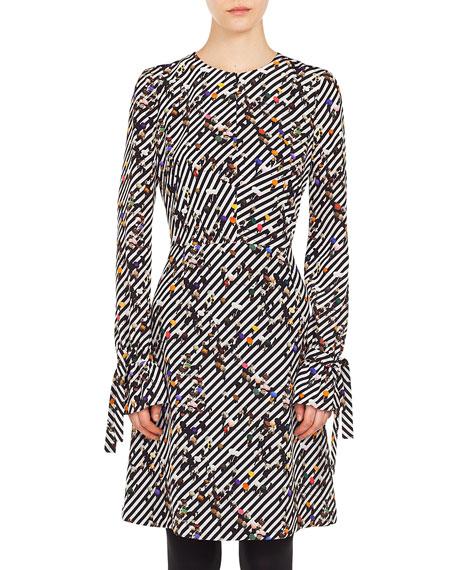 Long-Sleeve Crossroad-Print A-Line Knee-Length Dress