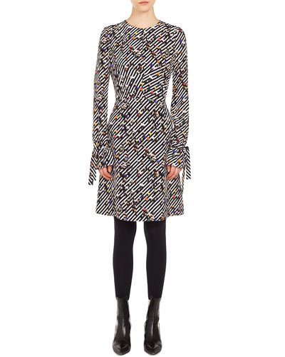 Long-Sleeve Crossroad-Print A-Line Knee-Length Dress