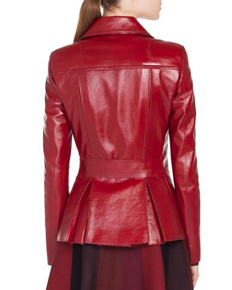 Zip-Front Patent Leather Biker Jacket