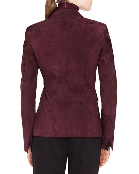 Notched-Lapel 2-Button Suede Leather Blazer