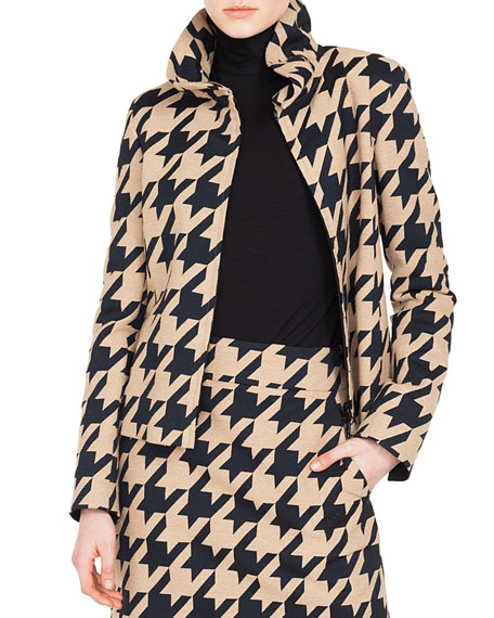 Ruched Stand-Collar Zip-Front Macro-Houndstooth Jacquard Jacket