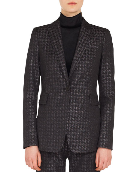One-Button Metallic Houndstooth Blazer