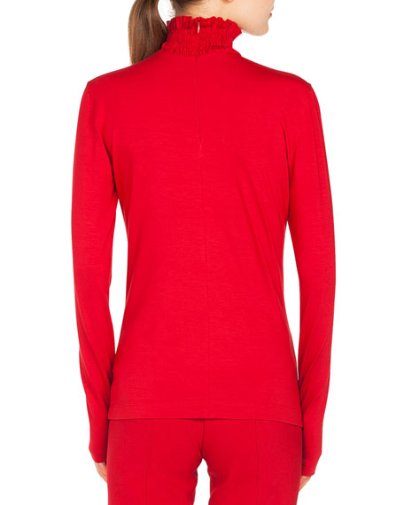 Smocked Turtleneck Long-Sleeve Jersey Top