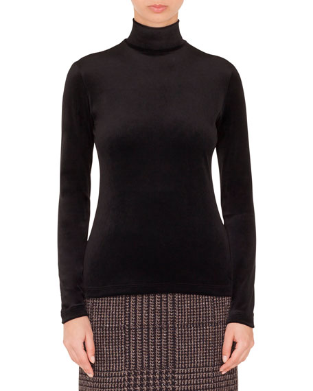 Turtleneck Long-Sleeve Back-Zip Knit Sweater
